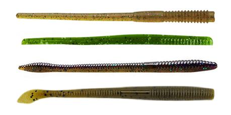 Von oben nach unten: Probe Worm, Berkley Finesse Worm, Trick Worm, Kut Tail Worm.
