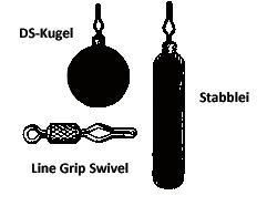 Einzelteile für die Drop Shot Montage: Bleie und Wirbel