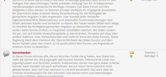 Verschenke-Forum online: Tackle-Spenden für Angeljugend & Co.